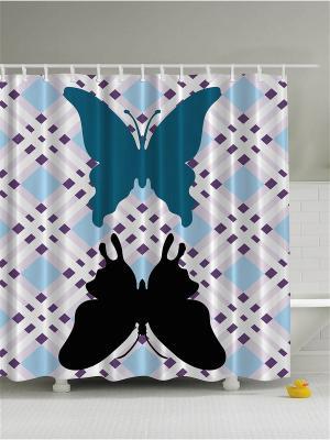Фотоштора для ванной Бабочки в полёте, 180*200 см Magic Lady. Цвет: синий, белый, голубой, серый, черный