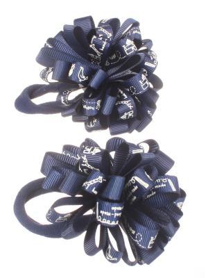 Банты для волос из ленты на резинке однотонные с принтом, 2 шт, синий Радужки. Цвет: синий