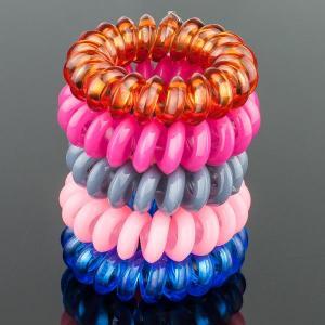 Комплект Резинок-Пружинок для волос 5 шт/уп, арт. РПВ-337 Бусики-Колечки. Цвет: розовый
