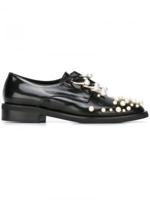 Туфли дерби Martina с жемчужными украшениями Coliac. Цвет: чёрный