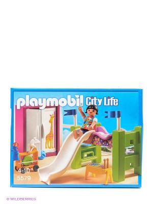 Детская комната с двухъярусной кроватью-горкой Playmobil. Цвет: голубой