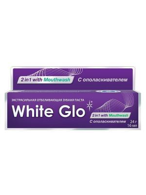 Зубная паста отбеливающая 2в1 с ополаскивателем для полости рта White Glo. Цвет: фиолетовый