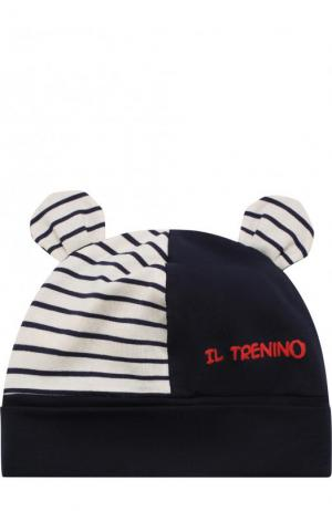 Хлопковая шапка с декором Il Trenino. Цвет: синий