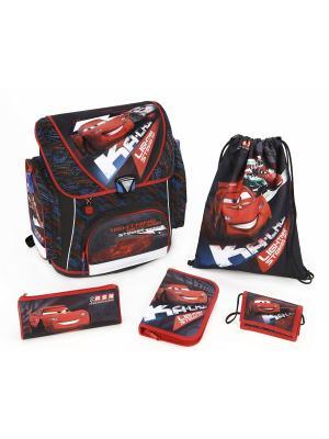 Ранец  с наполнением Cars, 5 позиций, 1/3 Scooli. Цвет: красный, серый