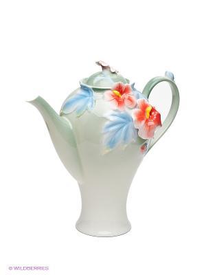Заварочный чайник Мальва Pavone. Цвет: зеленый, голубой, красный, белый