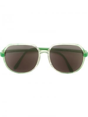 Солнцезащитные очки с круглой оправой Krizia Vintage. Цвет: зелёный