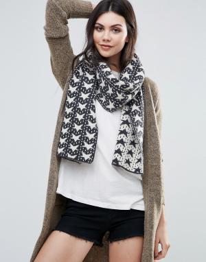 Alice Hannah Жаккардовый шарф со звездами. Цвет: черный