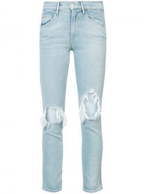 Джинсы с дырками на коленях 3X1. Цвет: синий