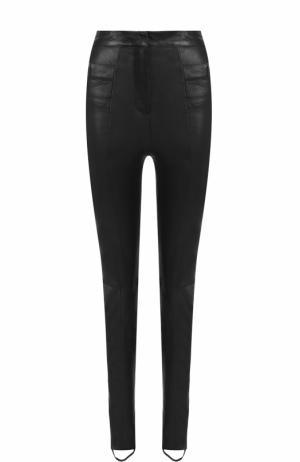Кожаные брюки-скинни со штрипками Balmain. Цвет: черный