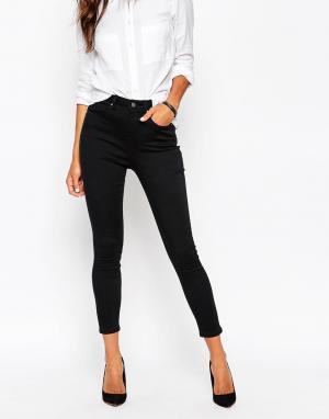 ASOS Эластичные укороченные брюки скинни с карманами по бокам. Цвет: черный
