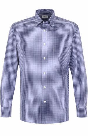 Хлопковая рубашка в клетку Brioni. Цвет: голубой