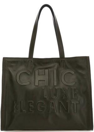 Вместительная кожаная сумка с длинными ручками Io Pelle. Цвет: хаки