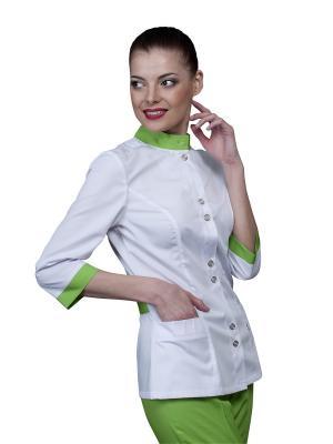 Блузка MediS. Цвет: белый, салатовый