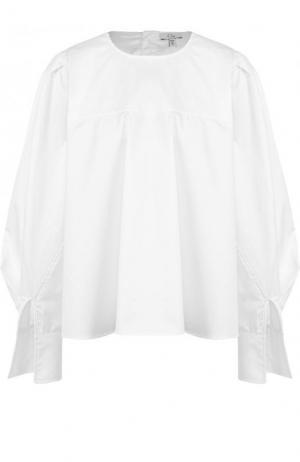 Хлопковая блуза свободного кроя с круглым вырезом Clu. Цвет: белый