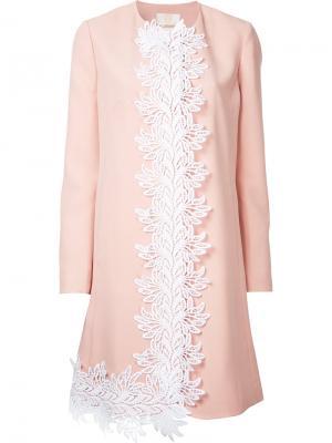 Пальто с вышивкой Sara Battaglia. Цвет: розовый и фиолетовый