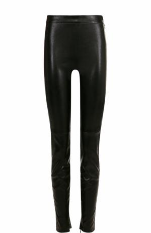 Кожаные леггинсы с завышенной талией Saint Laurent. Цвет: черный