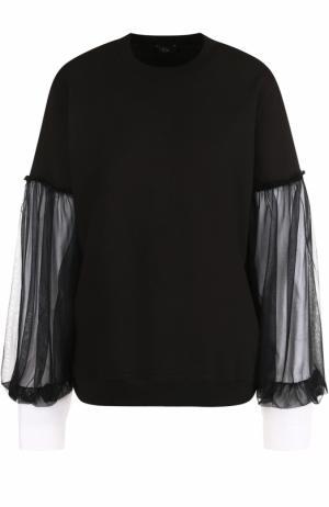 Хлопковый пуловер с декорированными рукавами Clu. Цвет: черный