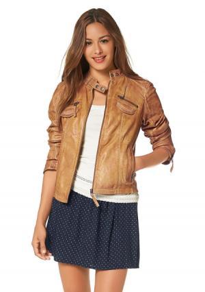 Кожаная куртка AJC. Цвет: серый/телесный потертый, черный