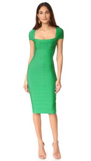 Платье Margot с короткими рукавами Herve Leger. Цвет: зеленый опал