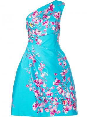 Платье на одно плечо Monique Lhuillier. Цвет: синий