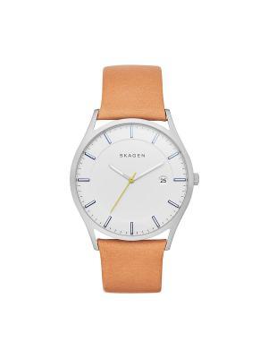 Часы SKAGEN. Цвет: белый, персиковый, серебристый