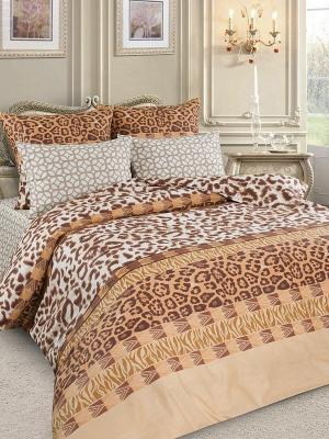 Комплект постельного белья Letto. Цвет: коричневый, бежевый