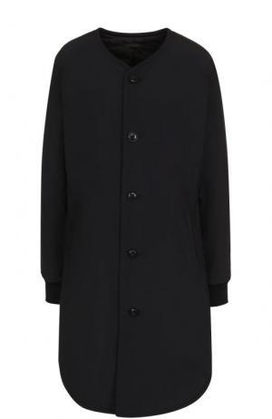 Однотонное пальто с круглым вырезом Yohji Yamamoto. Цвет: черный