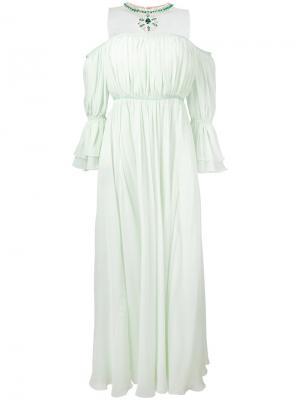 Платье с пышными рукавами и ожерельем Giambattista Valli. Цвет: зелёный