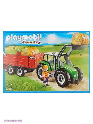 Ферма: Большой трактор с прицепом Playmobil. Цвет: зеленый, красный