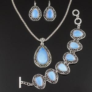 Комплект Аделия лунный камень арт. КМП518 Бусики-Колечки. Цвет: голубой