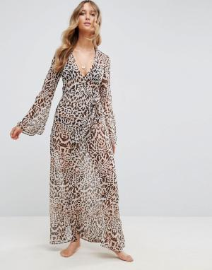 ASOS Пляжное кимоно-накидка макси с леопардовым принтом. Цвет: мульти