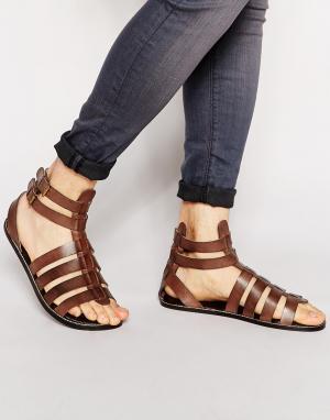 ASOS Кожаные гладиаторские сандалии. Цвет: коричневый