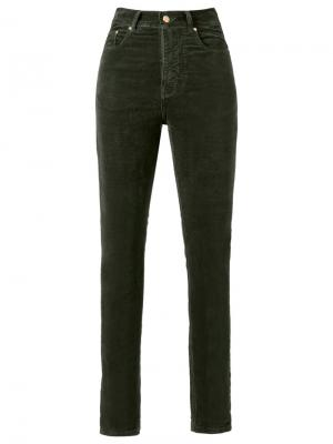 Бархатные брюки скинни с высокой талией Amapô. Цвет: зелёный