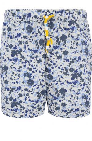 Льняные плавки-шорты с принтом 120% Lino. Цвет: серый
