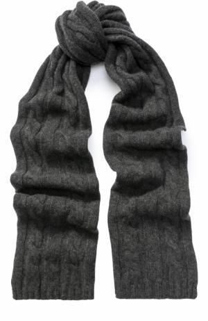 Шарф фактурной вязки из кашемира Kashja` Cashmere. Цвет: темно-серый