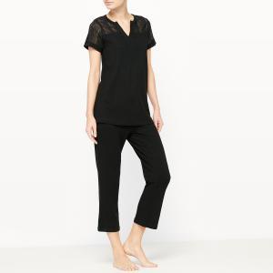 Пижама с короткими брюками La Redoute Collections. Цвет: черный