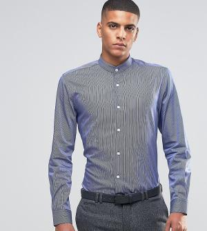 Number Eight Savile Row Рубашка скинни в полоску. Цвет: темно-синий