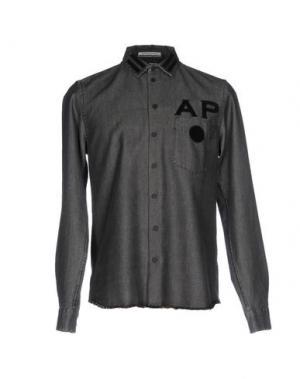 Джинсовая рубашка ANDREA POMPILIO. Цвет: черный