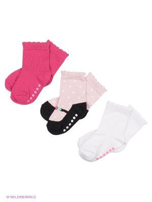 Носочки Туфелька, 3 пары Luvable Friends. Цвет: розовый, белый