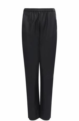 Укороченные кожаные брюки с эластичным поясом DROMe. Цвет: синий