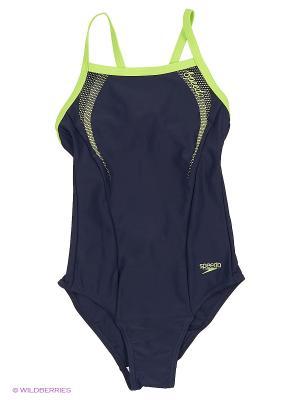 Слитный купальник Speedo. Цвет: темно-синий, зеленый