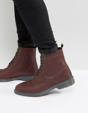 ASOS Бордовые кожаные ботинки на шнуровке. Цвет: красный