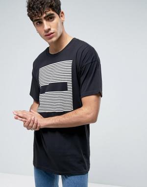 Dr Denim Черная удлиненная футболка с полосками Marlon. Цвет: черный