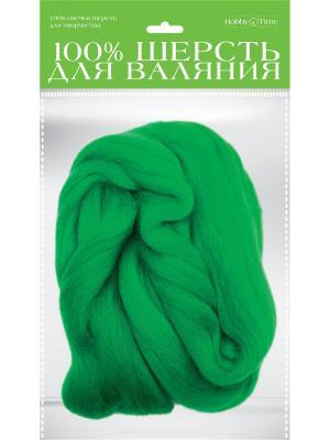 Шерсть для валяния полутонкая (гребенная лента), травяная, 50 гр. Альт. Цвет: зеленый