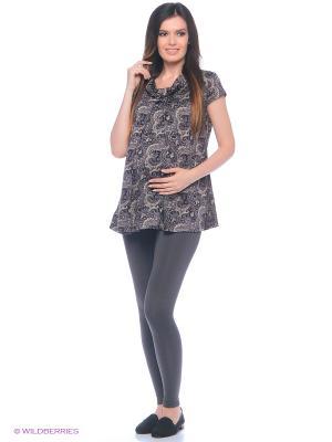Блузка для беременных 40 недель. Цвет: серый