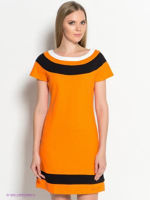Платье DOCTOR E. Цвет: оранжевый, белый, черный