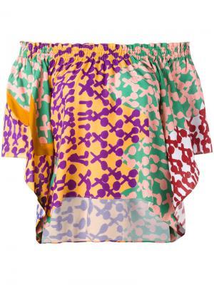 Блузка шифт с открытыми плечами Tsumori Chisato. Цвет: многоцветный