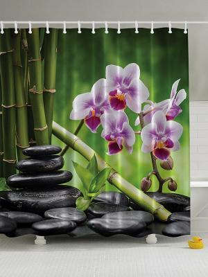 Фотоштора для ванной Цветочный декор, 180*200 см Magic Lady. Цвет: зеленый, белый, оранжевый, фиолетовый, черный