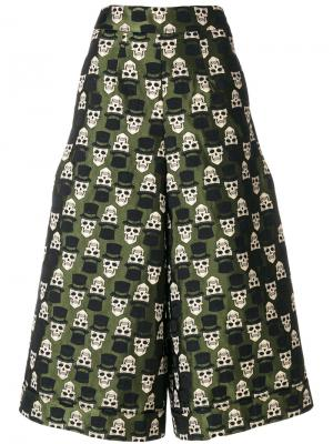 Укороченные брюки с вышивкой Ultràchic. Цвет: зелёный