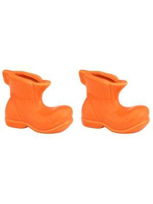 Набор из 2-х вазочек под зубочистки Башмачок оранжевый Elan Gallery. Цвет: оранжевый